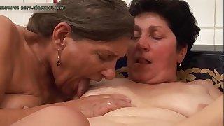 Lesbians grannies in bath