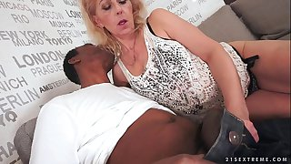 Lusty Grandma loves black cock