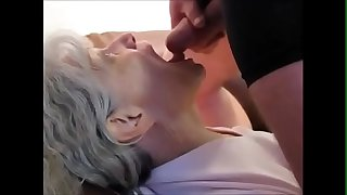 White hair grandma sucking..