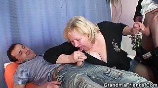 Big boobs old grandma double..