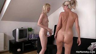 Lesbian mom teaching blonde..