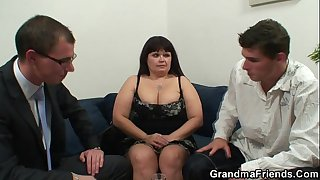 Two dudes bang huge titted..