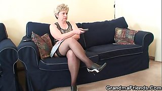 Old bitch takes two cocks..