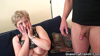 Hot grandma warms up before..