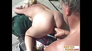 Grandma fucks in public pool