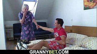 He picks up busty old grandma