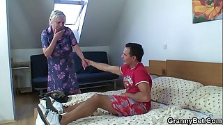 Old granny is banged by an..