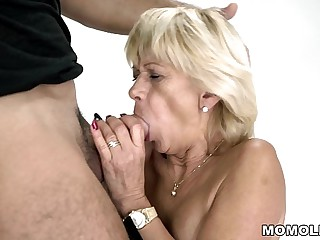 Granny squirts on a hard..