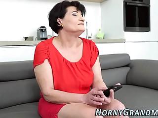 Face fucked granny facial