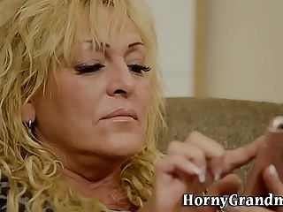 Blonde granny cum sprayed