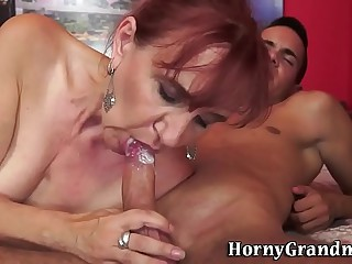 Mature granny gets eaten