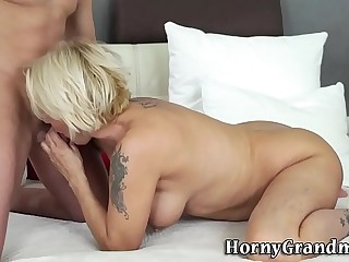 Dick sucking busty granny