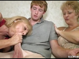 Two Blonde Grannies Suck A..