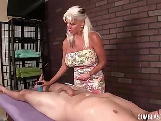 Huge-Titted Granny Handjob