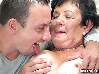 Lewd granny fucks a young guy