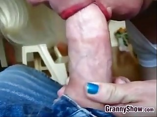 Granny Squeezing On A Cock..