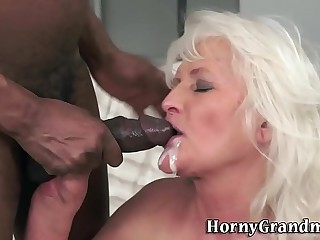 Granny gets mouth creamed