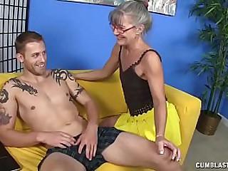 Granny gets cumblasted