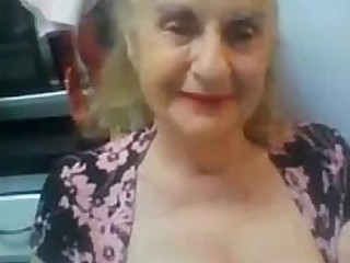 Old Granny Flashes her Tits..
