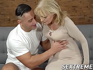 Young man drilling a horny..