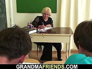 Granny teacher gets double..
