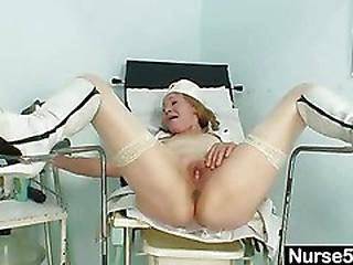 Kinky grandma wears pump..
