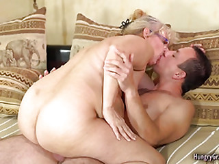 Blonde gilf ravished by a stud