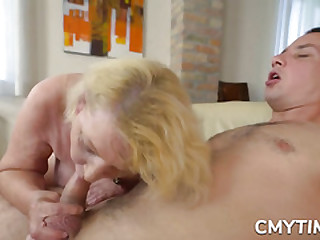 Blonde grandma fucked real..