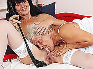 Hairy granny licks hot milf..