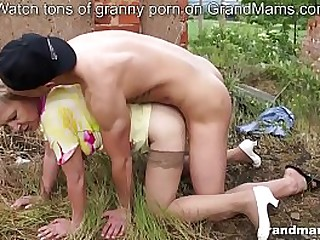 Old busty granny fucks and..