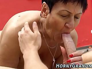 Massaged granny cum mouth