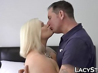 Blonde granny rides cock..