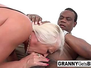 Hot granny gets a black cock