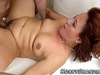 Sperm mouthed granny suck