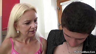 Very old blonde mother in..