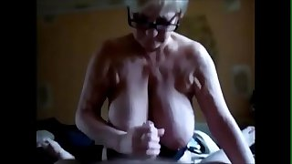 Handjob huge breast granny..